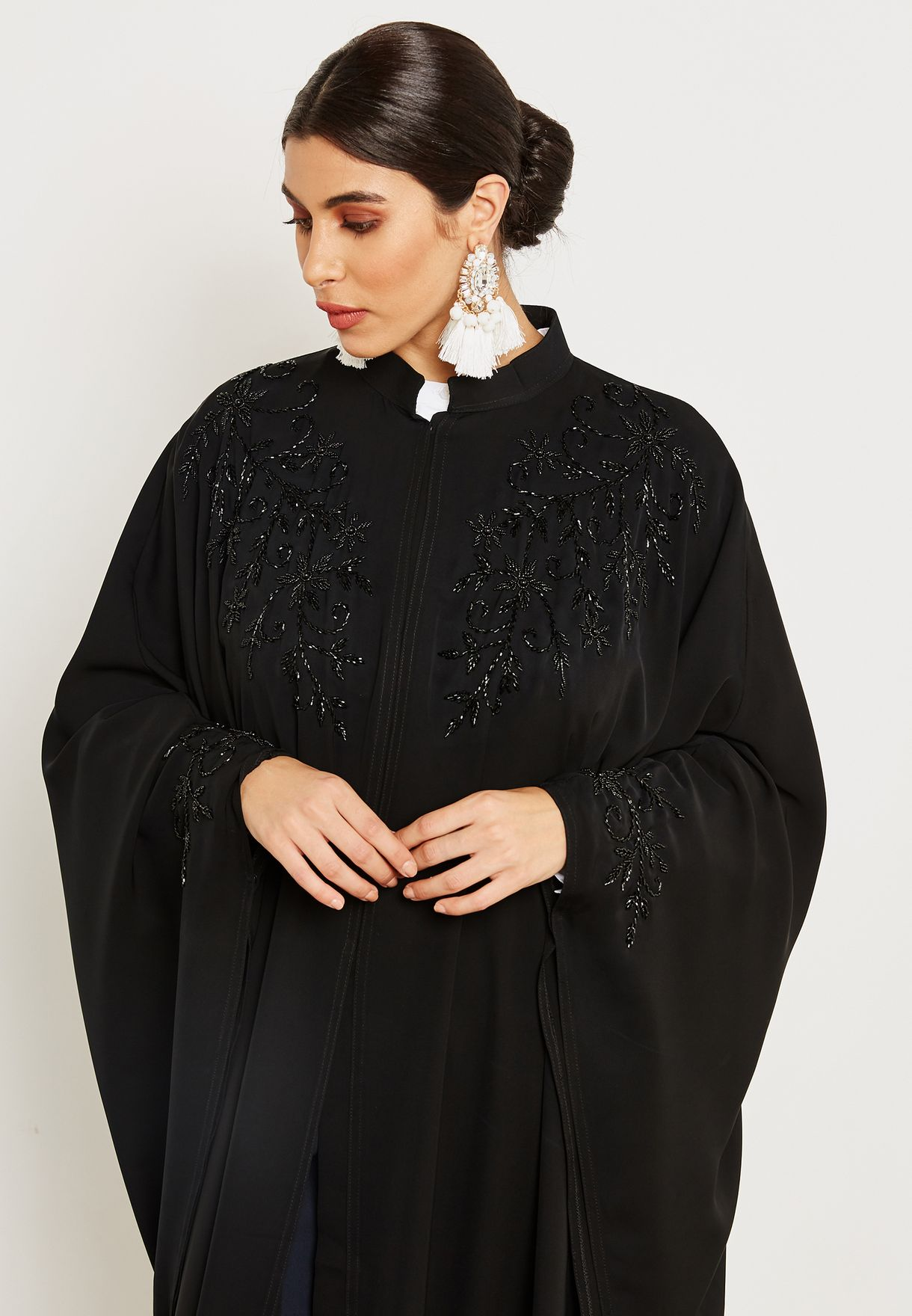 Collar Neck Beaded Abaya