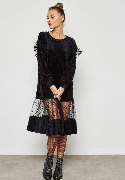 Lace Hem Velvet Sweat Dress