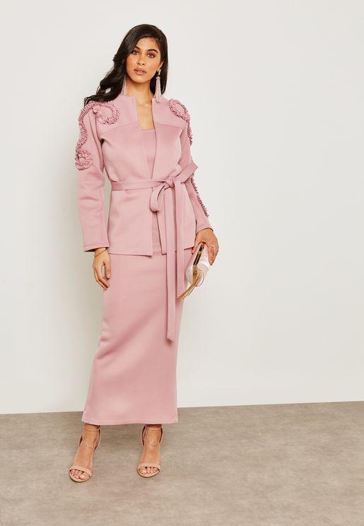 Ruffle Details Self Tie Dress