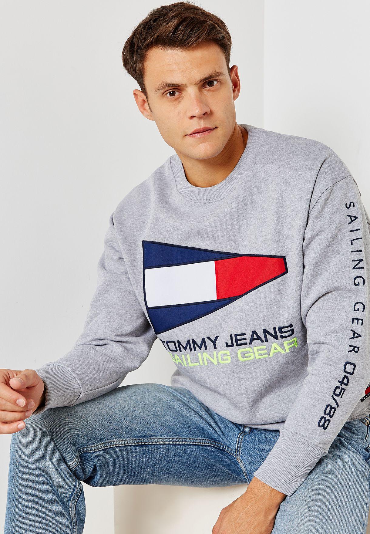 f074c9782ce066 Shop Tommy Jeans grey Capsule 90s Sailing Logo Sweatshirt DM0DM05239000 for  Men in UAE - TO447AT31PZG
