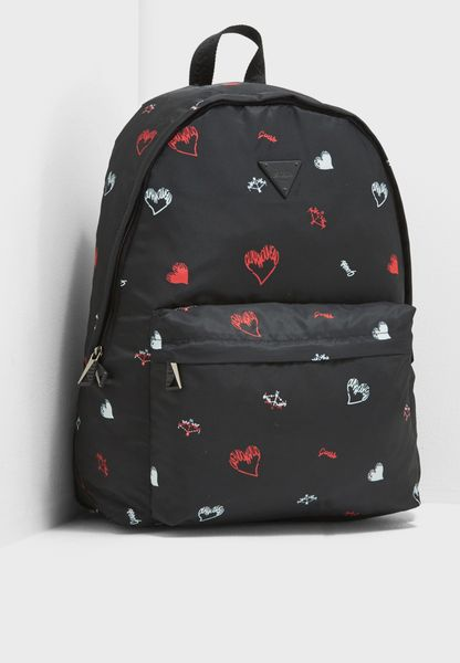 Hearts  Print Backpack