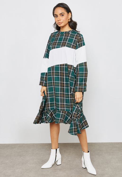 Oversized Colorblock Checked Dress