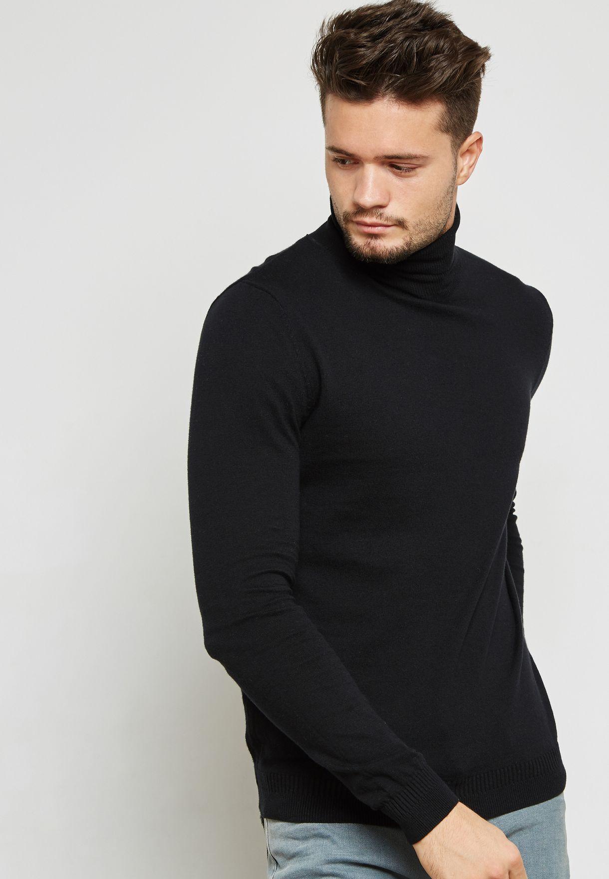 034525d3 Shop Topman black Roll Neck Sweater 81A05PBLK for Men in UAE ...