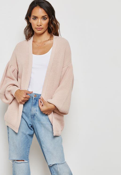 Puffed Sleeve Cardigan
