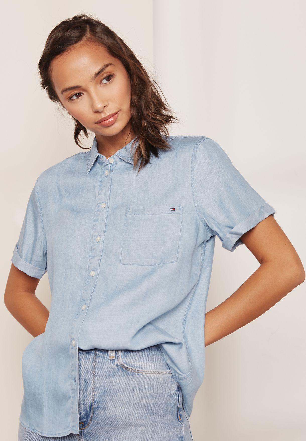73494c61 Shop Tommy Hilfiger blue Jena Denim Shirt WW0WW22601 for Women in ...