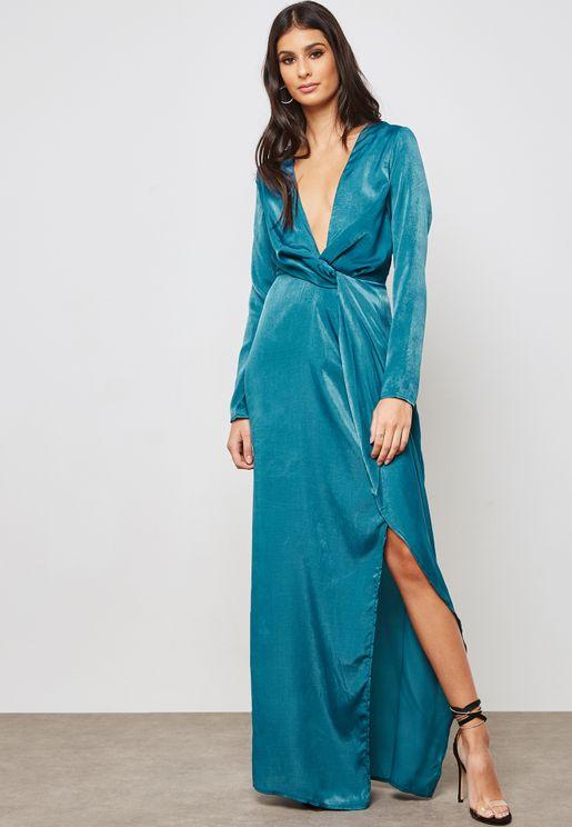 Side Split V-Neck Front Twist Dress