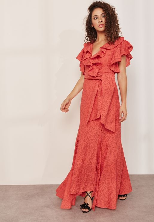 More to Give Tie Waist Ruffle Detail Maxi Dress