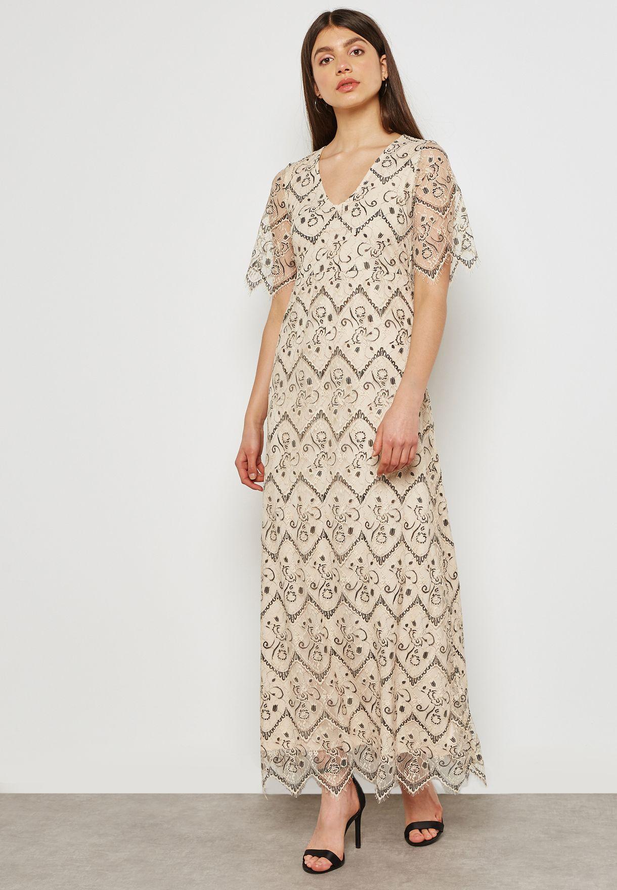 a502b30ae04d Shop Vila beige Lace Maxi Dress 14046179 for Women in UAE - VI712AT31JSU
