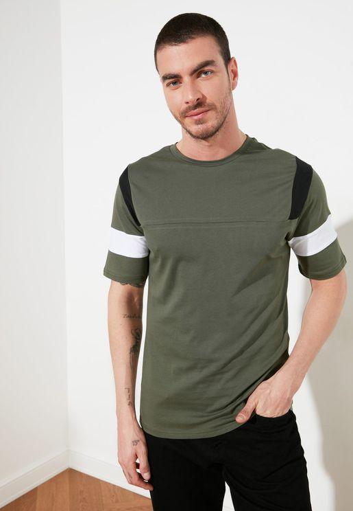 Contrast Edge Crew Neck T-Shirt