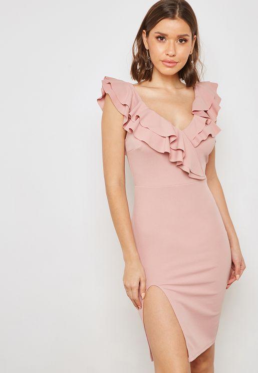 Ruffle Bardot Slit Dress