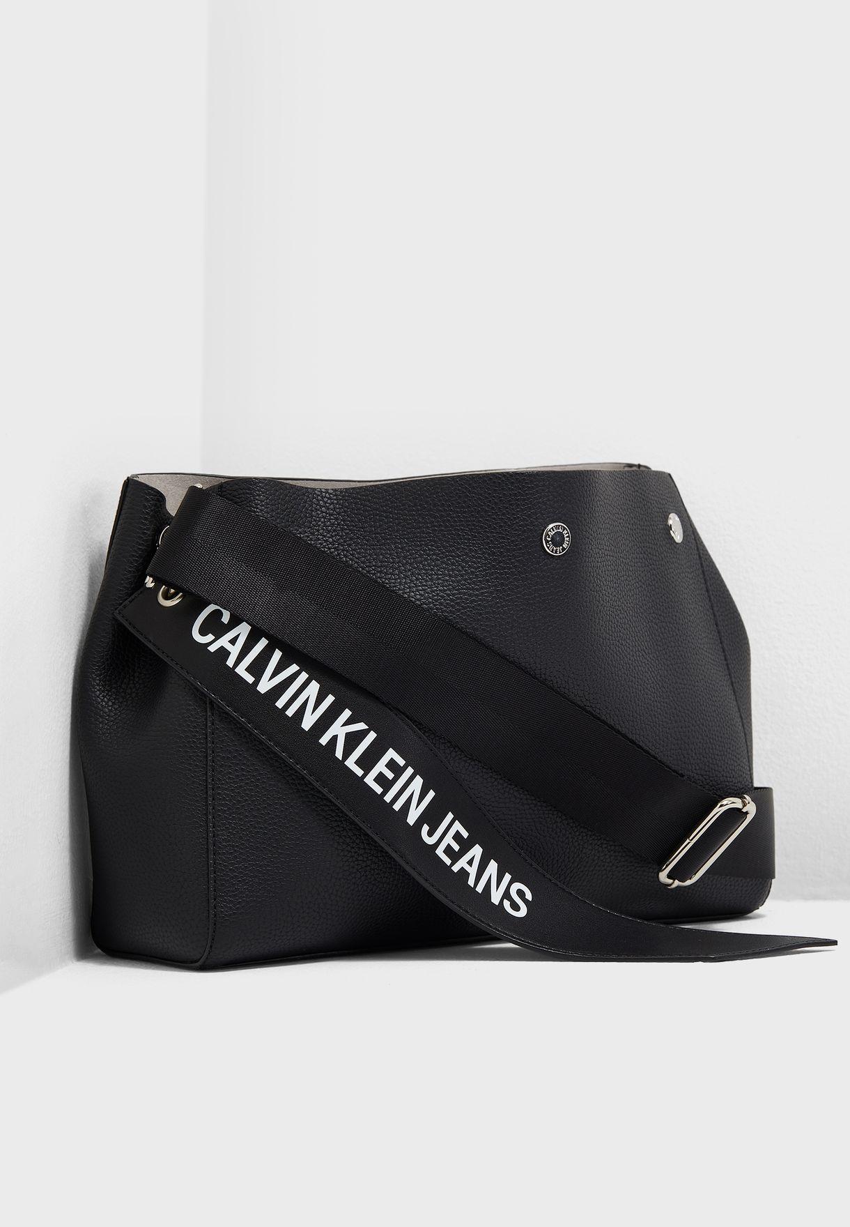 43576dac752 Shop Calvin Klein Jeans black Logo Banner Flap Crossbody K40K400825 ...