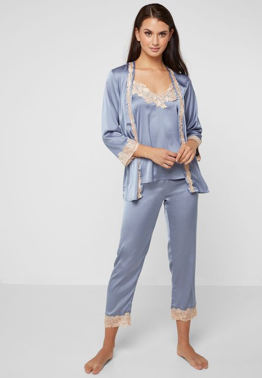 3 In 1 Lace Trim Robe Pyjama Set