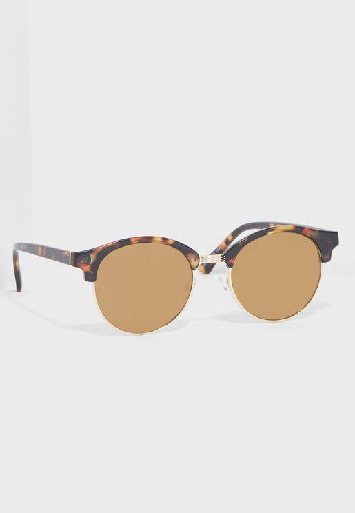 Round Tortoiseshell Mirrored Sunglasse