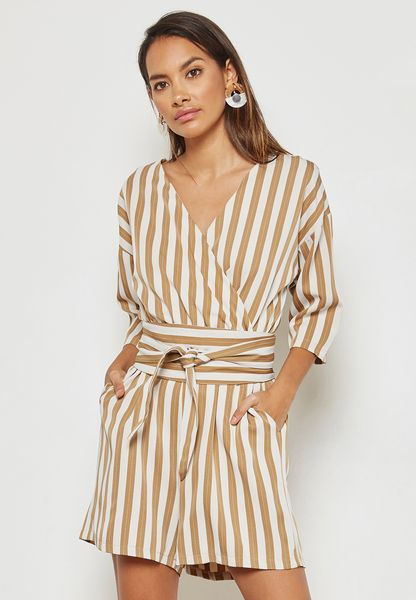 Striped Wrap Front Self Tie Playsuit