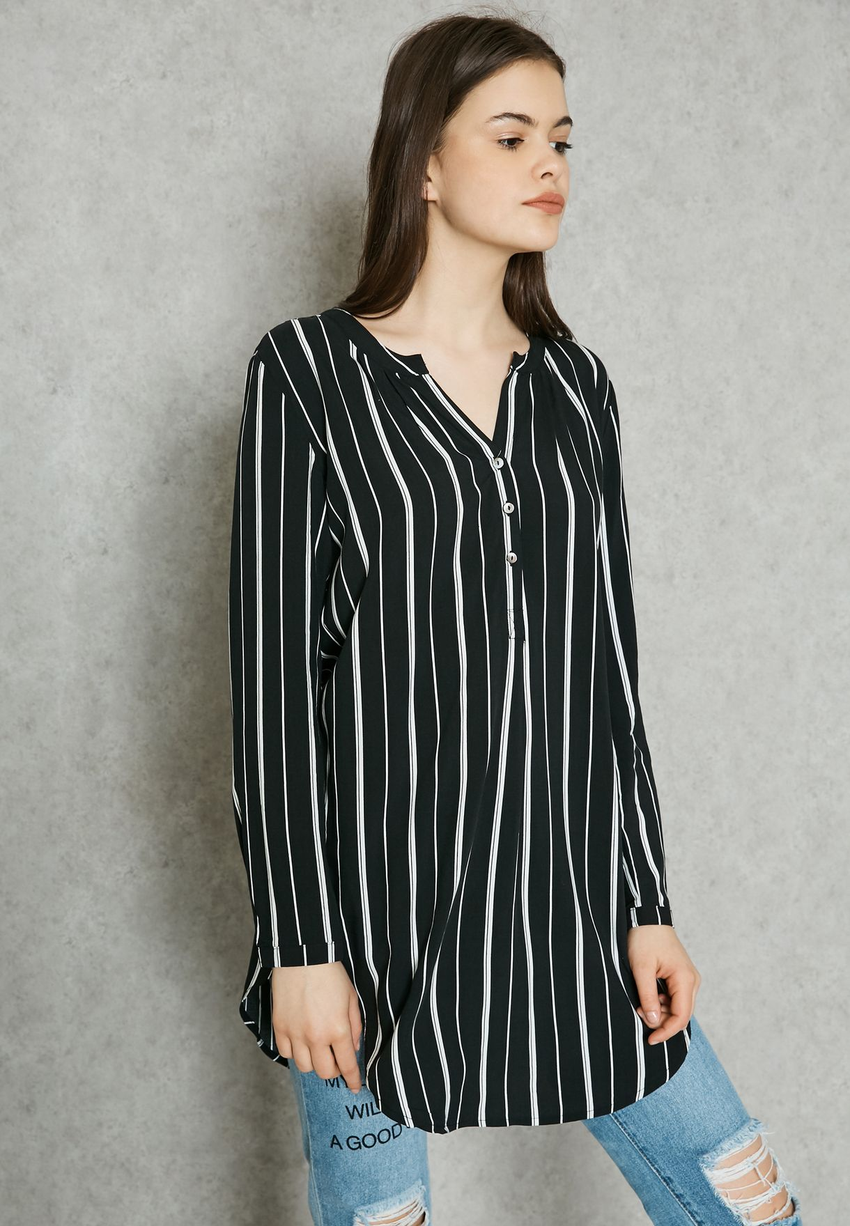 e344847917cff Shop Only stripes Essential Longline Top 15134091 for Women in UAE ...