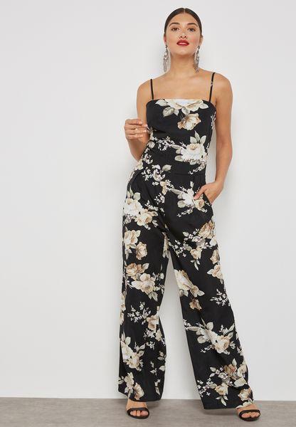 Floral Print Tie Back Cut Out Jumpsuit