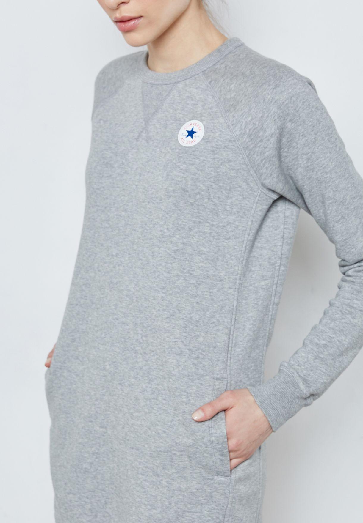 236a3e17bbb Shop Converse grey Core Sweat Dress 10004545-A03 for Women in Kuwait ...