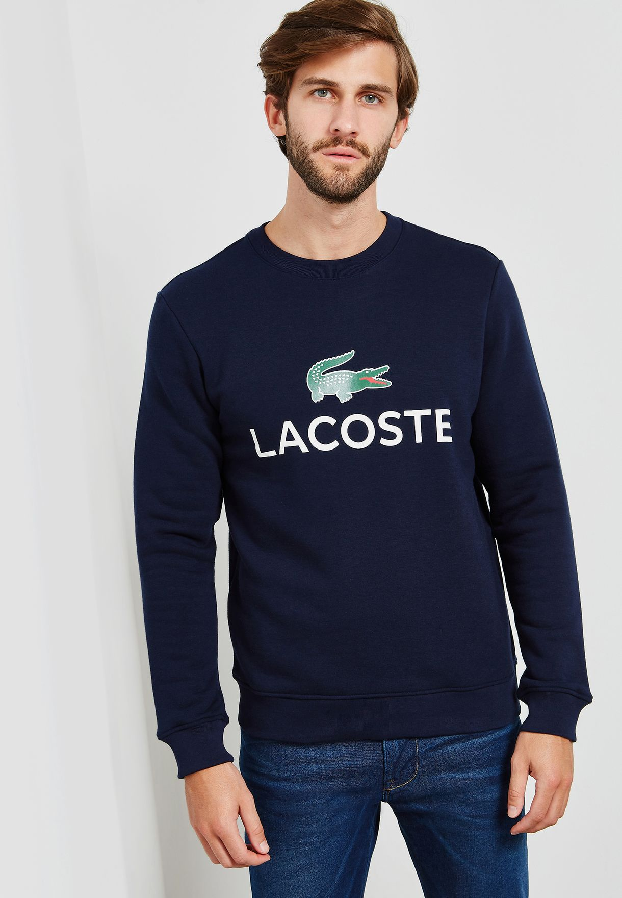 48820824e4ce Shop Lacoste navy Logo Sweatshirt SH0605-00 166 for Men in Saudi ...