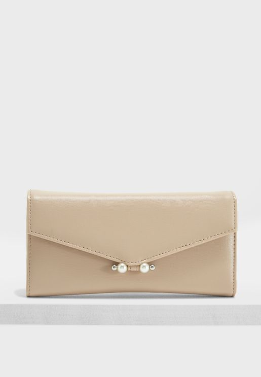 Pearl Bar Fold Over Purse