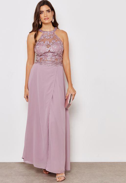 Halter Neck Lace Maxi Dress