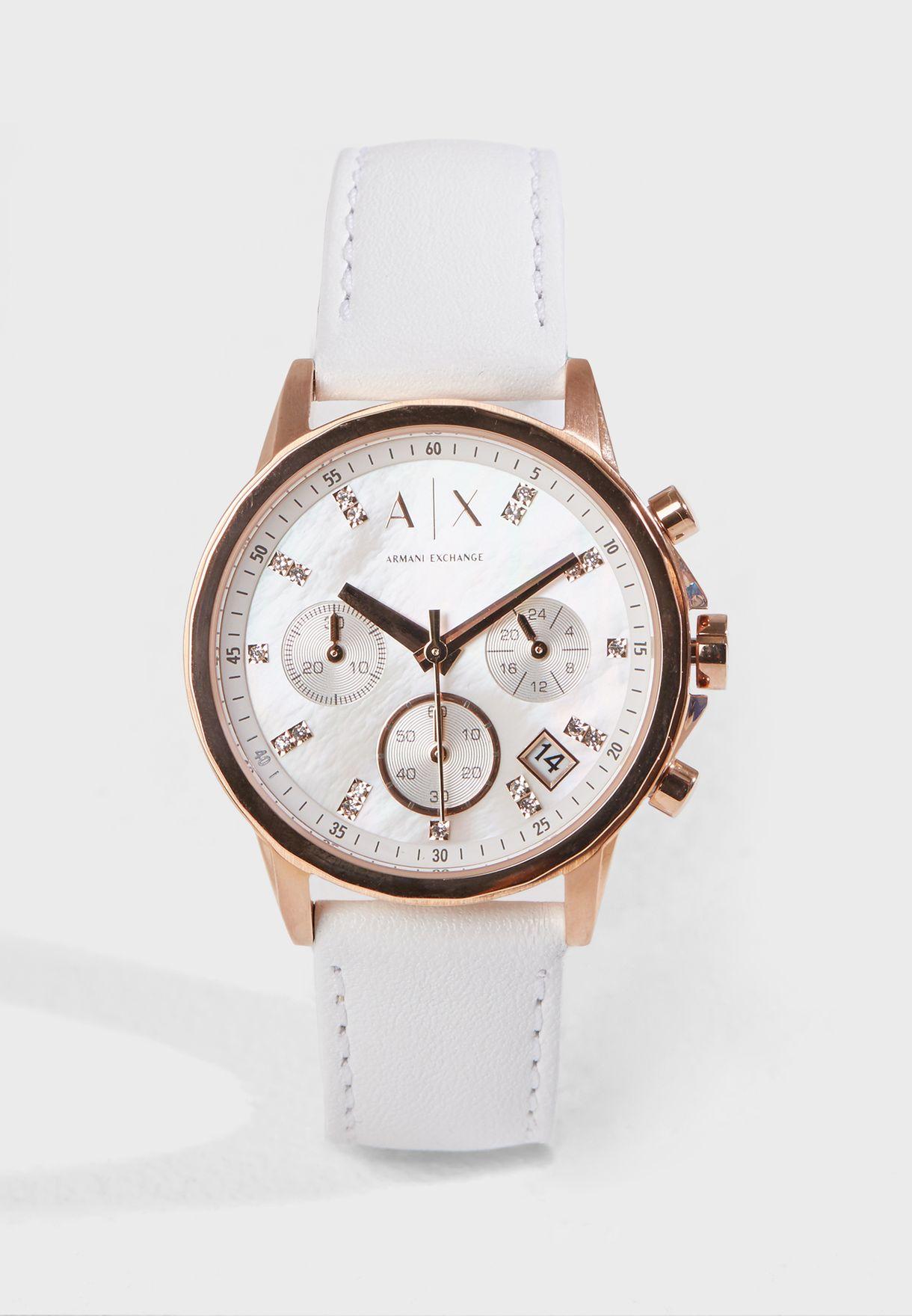 9e26ad3d4501 Shop Armani Exchange white Lady Banks Analog Watch AX4364 for Women ...