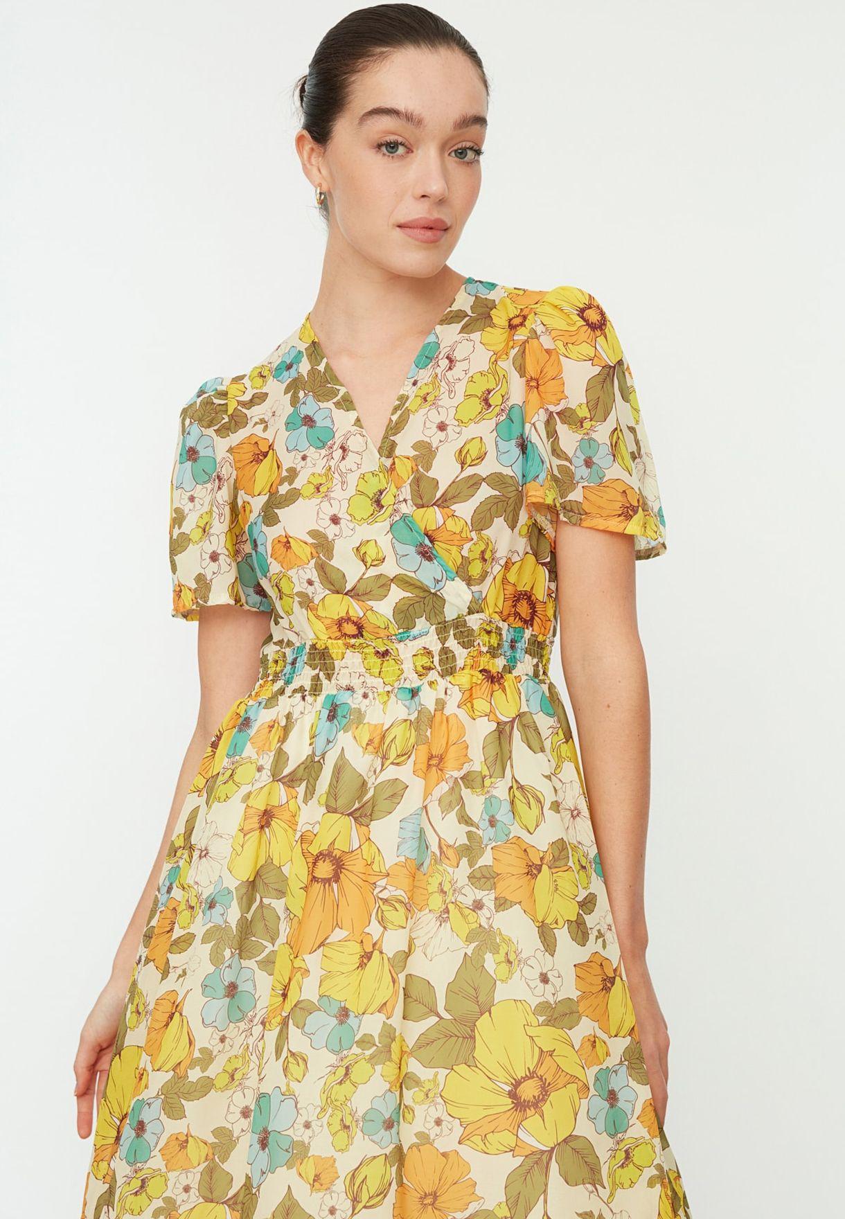 Floral Print Balloon Sleeve Dress