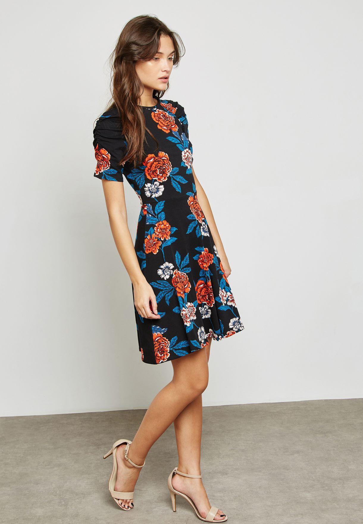 Floral Print Ruched Sleeve Skater Dress