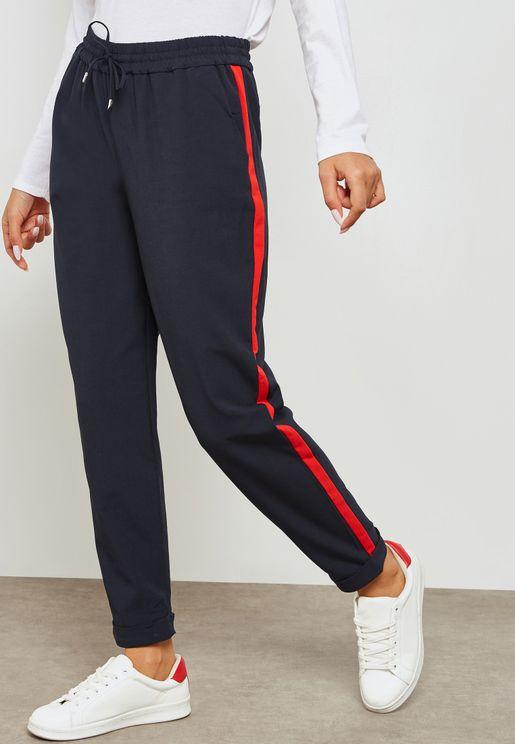 Contrast Striped Tie Waist Pants