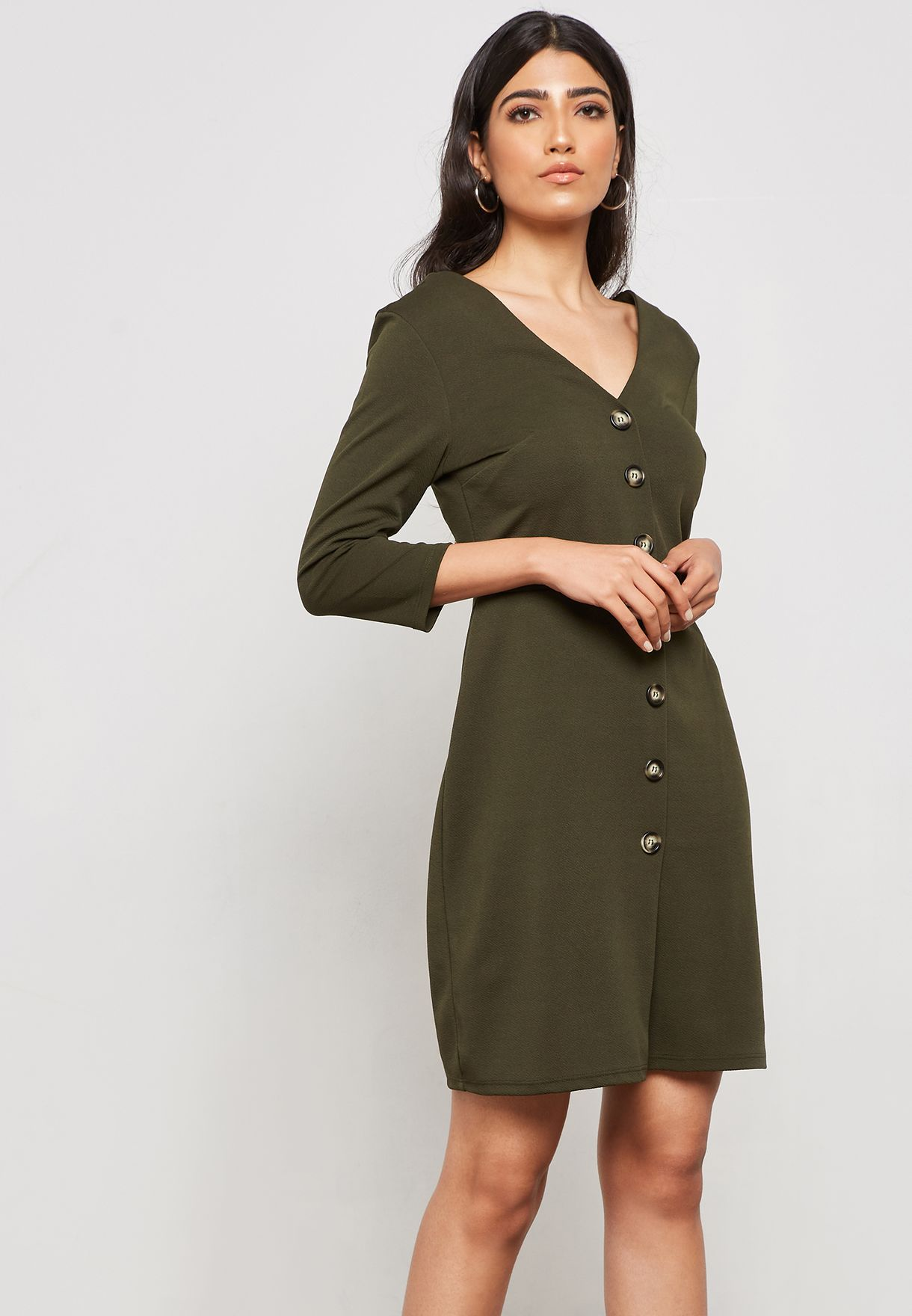 3f702e05461d Shop Dorothy Perkins green Button Down Bodycon Dress 97288543 for ...