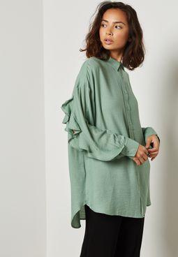 Ruffled Slit Shirt