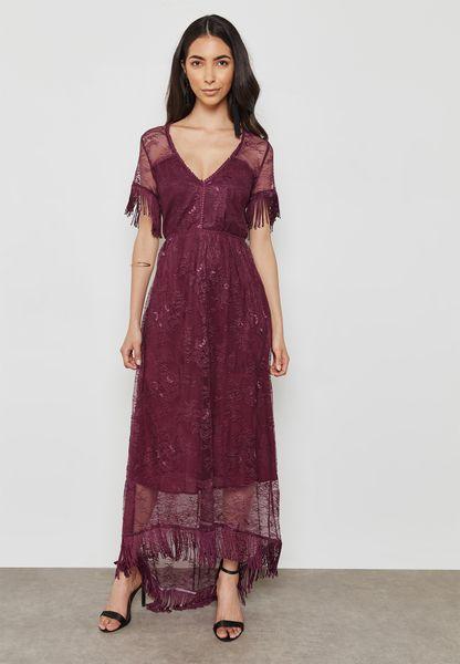 Sheer Detail Plunge Dress