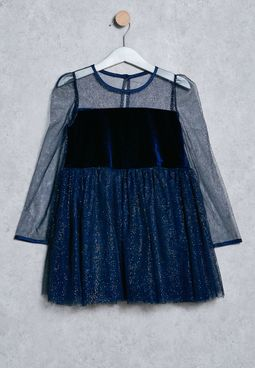 Kids Velour And Mesh Dress