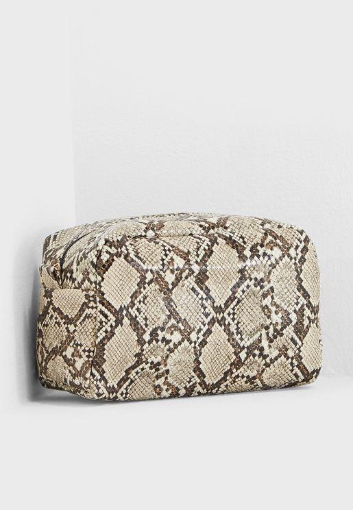 Oversized Snakeskin Cosmetic Bag