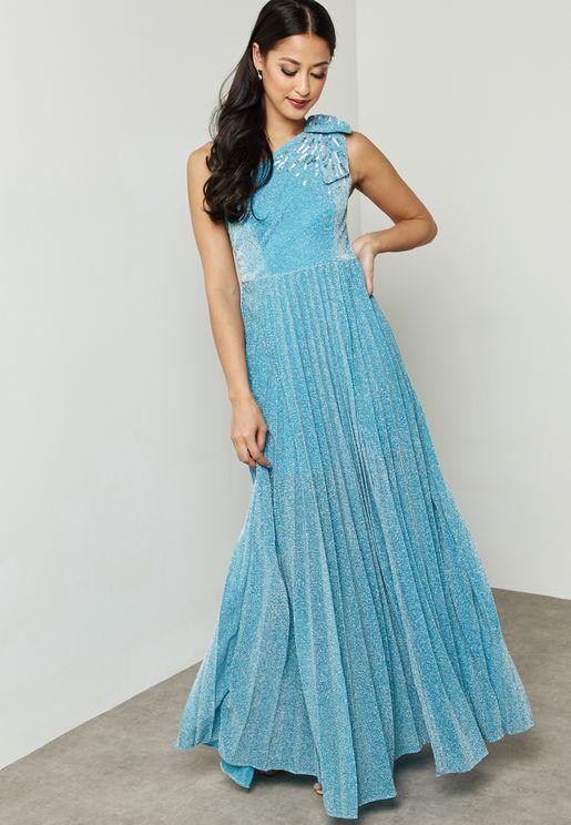 Pleated One Shoulder Shimmer Slit Dress