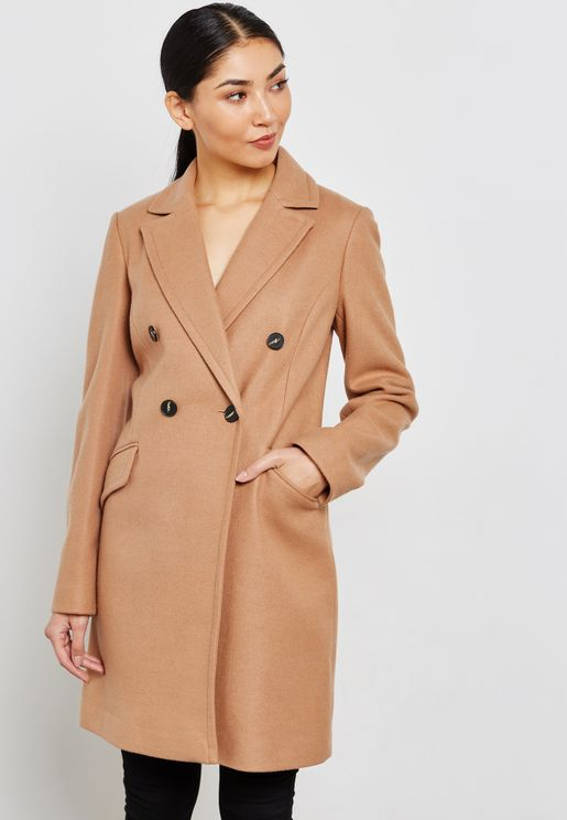 Button Detail Longline Coat