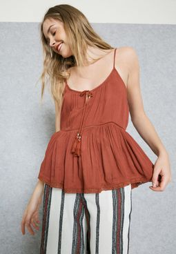 Tassel Drawstring Top