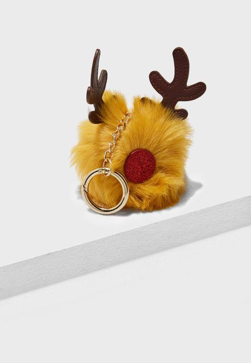 Christmas Reindeer Pom Keyring