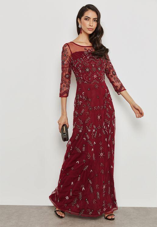 Embellished Illusion Dress