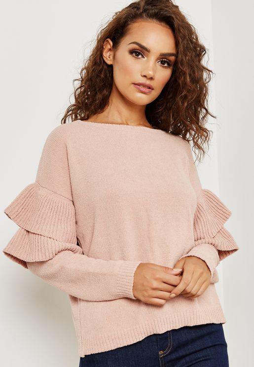 Oversized Ruffle Sleeve Sweater
