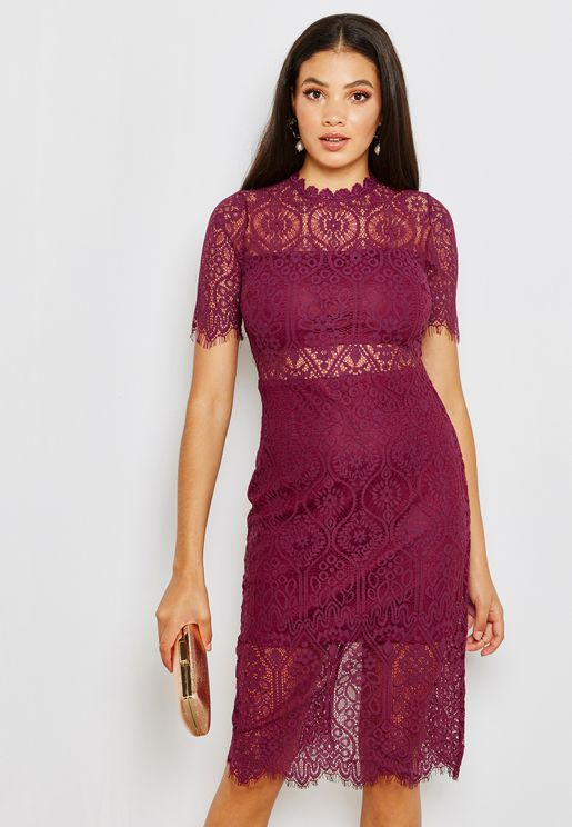Laser Cut Out Short Sleeve Midi Dress