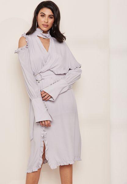 High Neck Ruffle Detail Dress