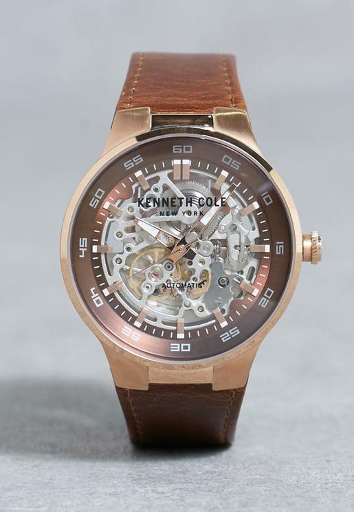 ساعة اتوماتيكية بحزام جلد اصلي