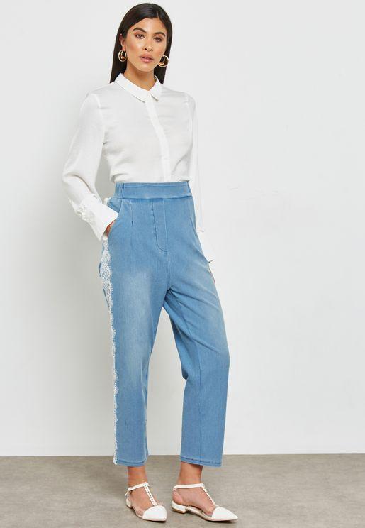 Side Lace Paneled Denim Pants