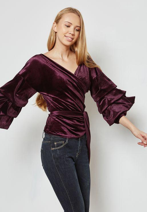 Puffed Sleeve Self Tie Velvet Dress