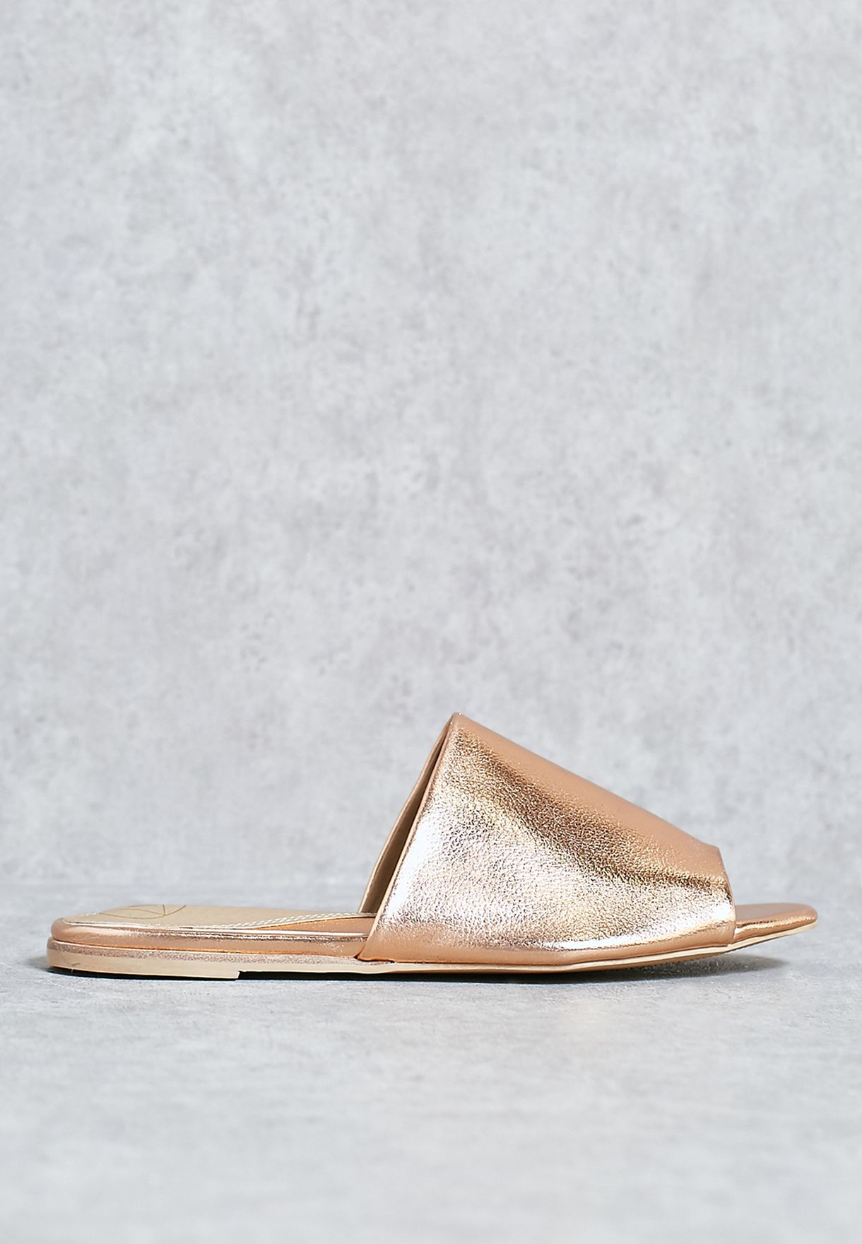 35788cb074 Shop Missguided gold Peep Toe Slip On Mules F1606635 for Women in ...