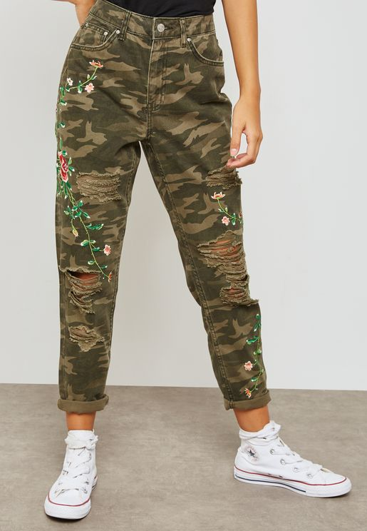 MOTO Camouflage Embroidered Mom Jeans