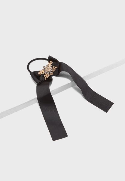 Stoned Bow Hair Tie