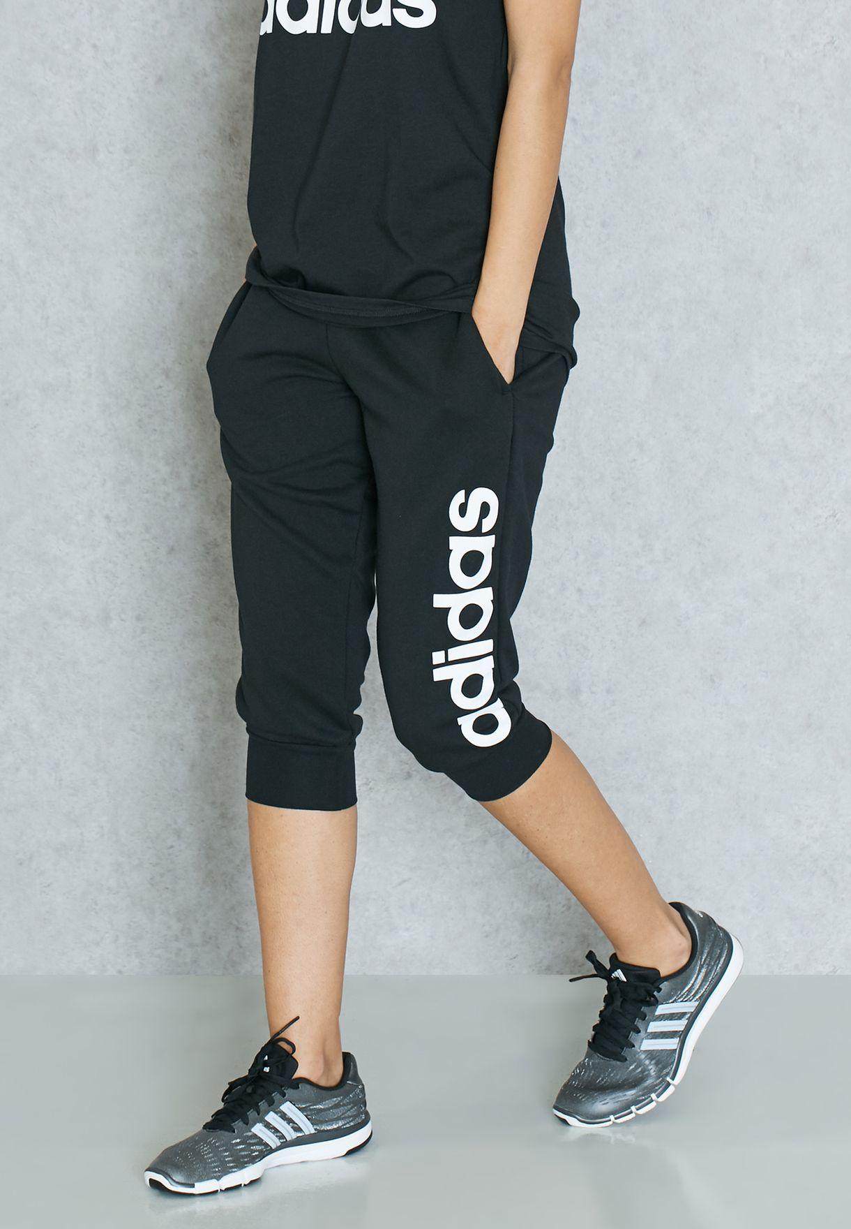 c076943695a7 Shop adidas black Essential Linear 3 4 Sweatpants S97150 for Women ...