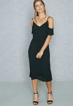 Waist Tie Cold Shoulder Dress