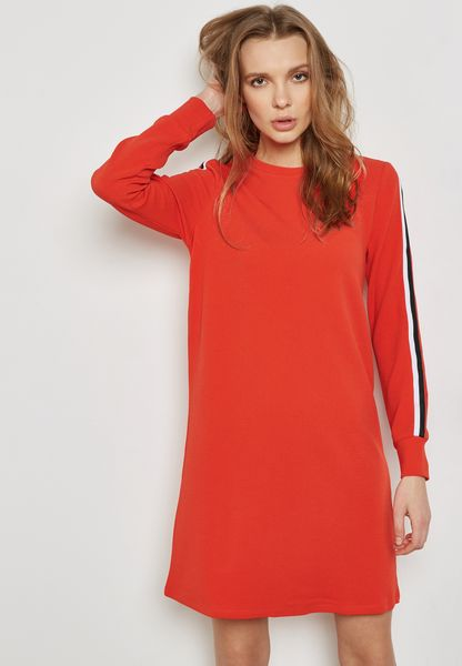 High Neck Contrast Piping Dress